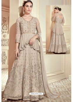 Fabulous Off White Embroidered Designer Anarkali Suit