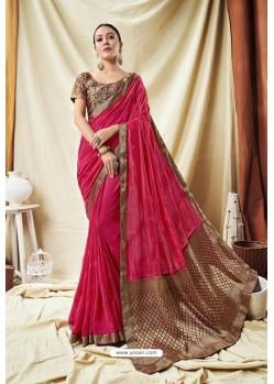 Trendy Pink Silk Wedding Party Wear Saree