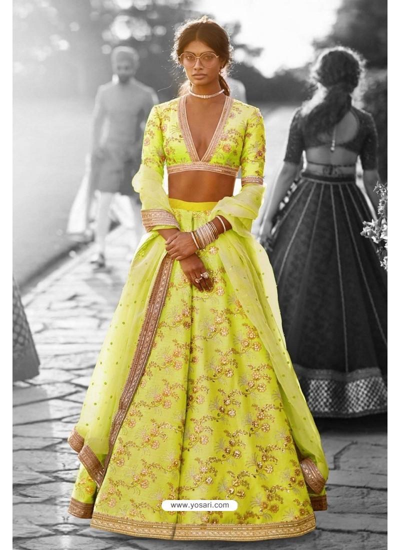 c11224b4a7 Buy Classy Parrot Green Heavy Embroidered Lehenga Choli | Bridal ...