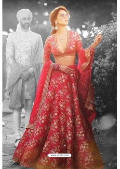 Dashing Red Heavy Embroidered Lehenga Choli
