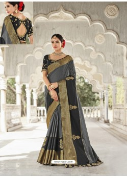Grey Silk Stone Worked Party Wear Saree