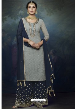 Navy And Grey Georgette Heavy Embroidered Designer Sharara Suit