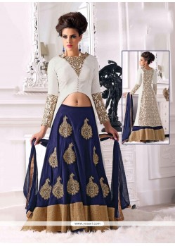 Elite Blue And White Velvet Lehenga Choli