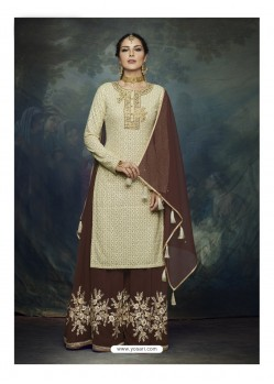 Coffee And Cream Georgette Heavy Embroidered Designer Sharara Suit