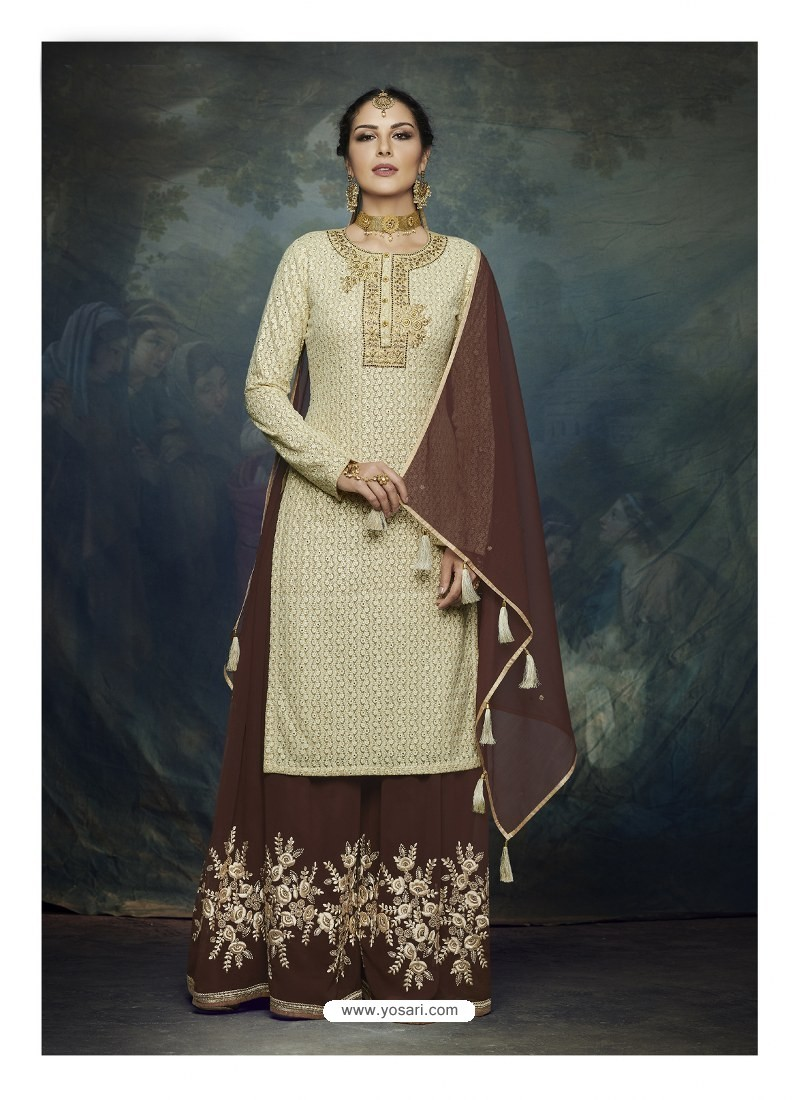 8cbbb449f0 Buy Coffee And Cream Georgette Heavy Embroidered Designer Sharara ...