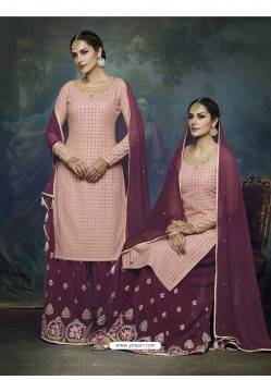 Deep Wine And Pink Georgette Heavy Embroidered Designer Sharara Suit