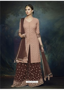 Coffee And Light Brown Georgette Heavy Embroidered Designer Sharara Suit