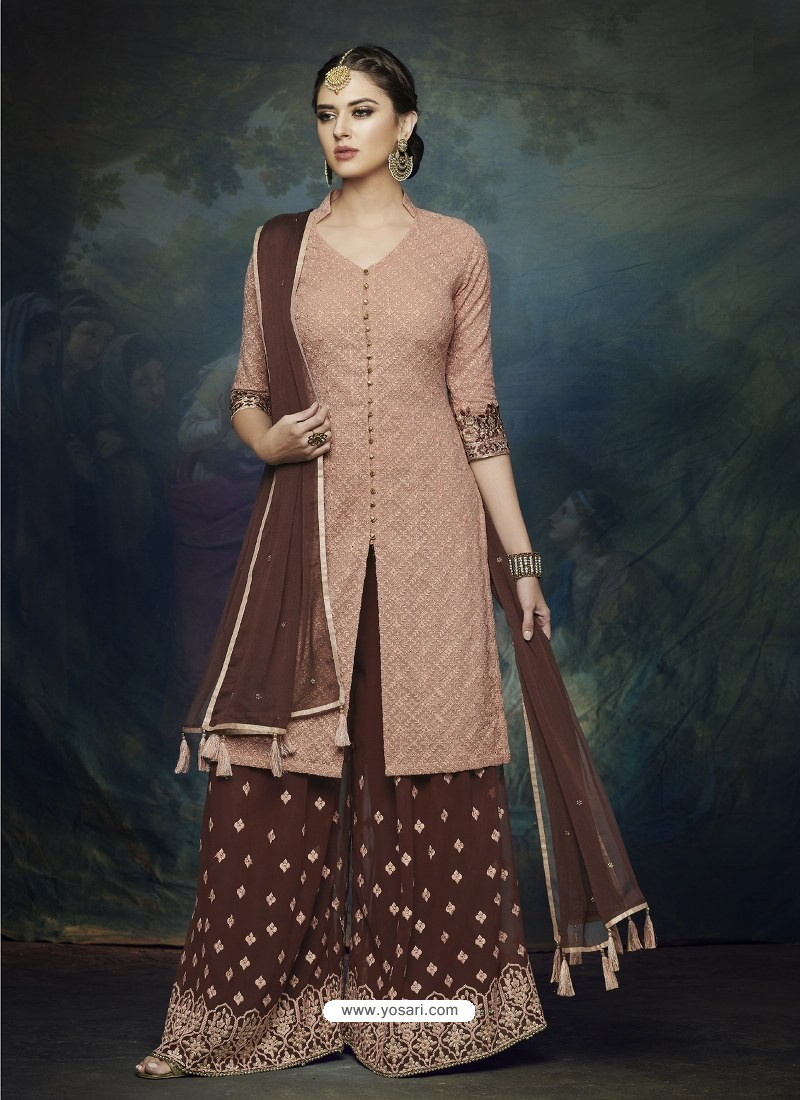 21d8ca69e7 Coffee And Light Brown Georgette Heavy Embroidered Designer Sharara Suit