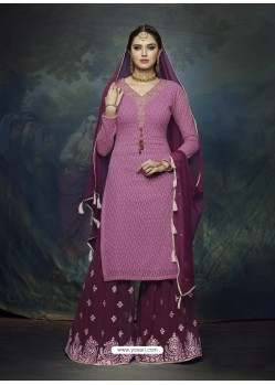 Wine And Magenta Georgette Heavy Embroidered Designer Sharara Suit