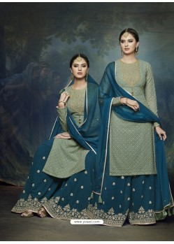 Teal And Green Georgette Heavy Embroidered Designer Sharara Suit