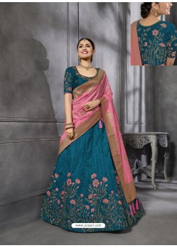 Teal Blue Silk Wedding Designer Lehenga Choli
