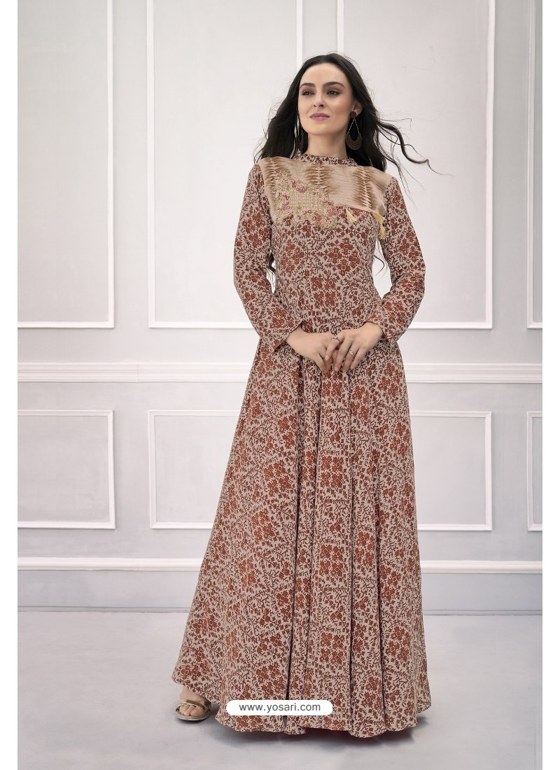 4091b09e7d1 Buy Peach Heavy Rayon Hand Worked Gown