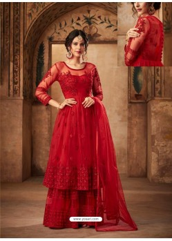 Red Net Embroidered Designer Sharara Suit