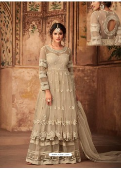 Light Beige Net Embroidered Designer Sharara Suit