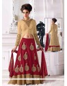 Cream And Red Velvet Lehenga Choli