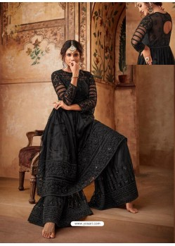 Black Net Embroidered Designer Sharara Suit