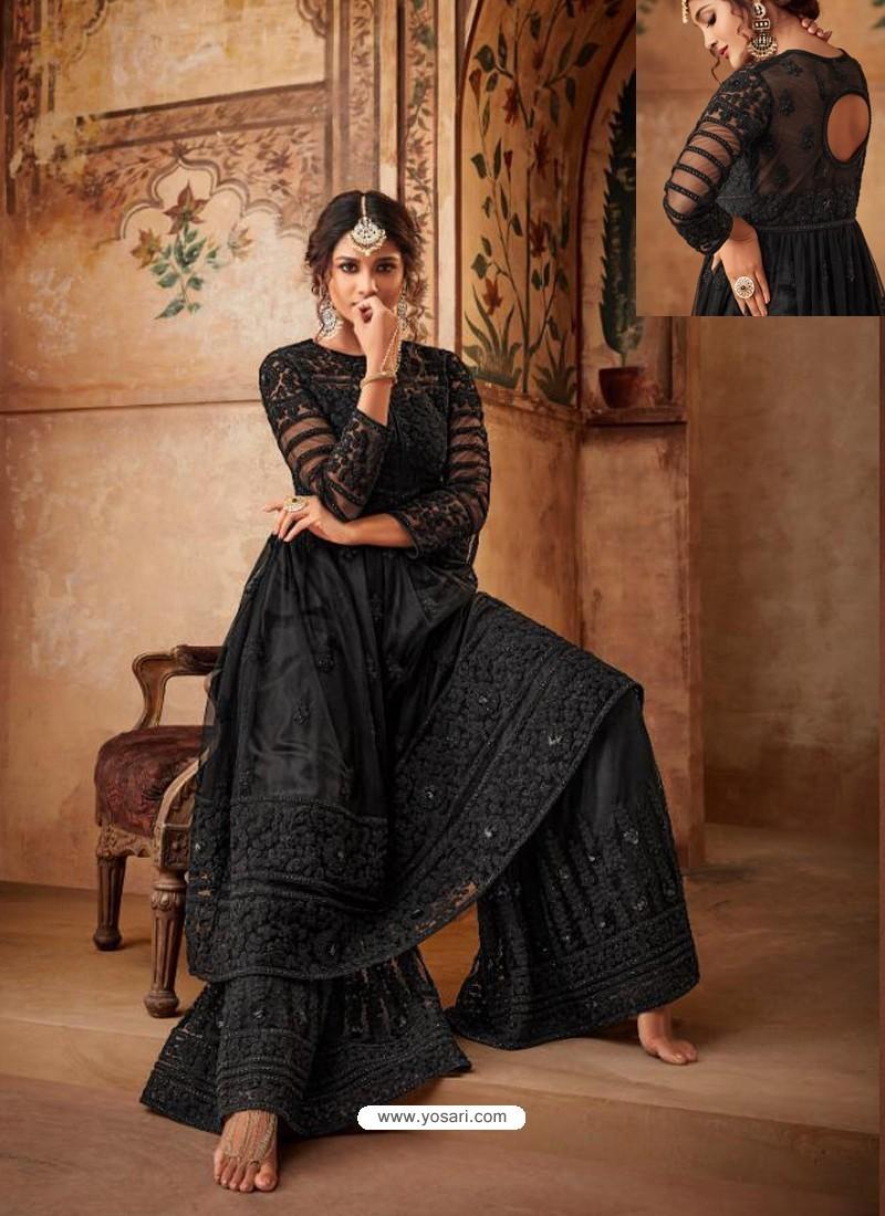 Black Net Embroidered Designer Sharara Suit