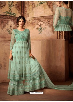 Sea Green Net Embroidered Designer Sharara Suit