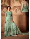Sea Green Net Embroidered Designer Sharara Suit