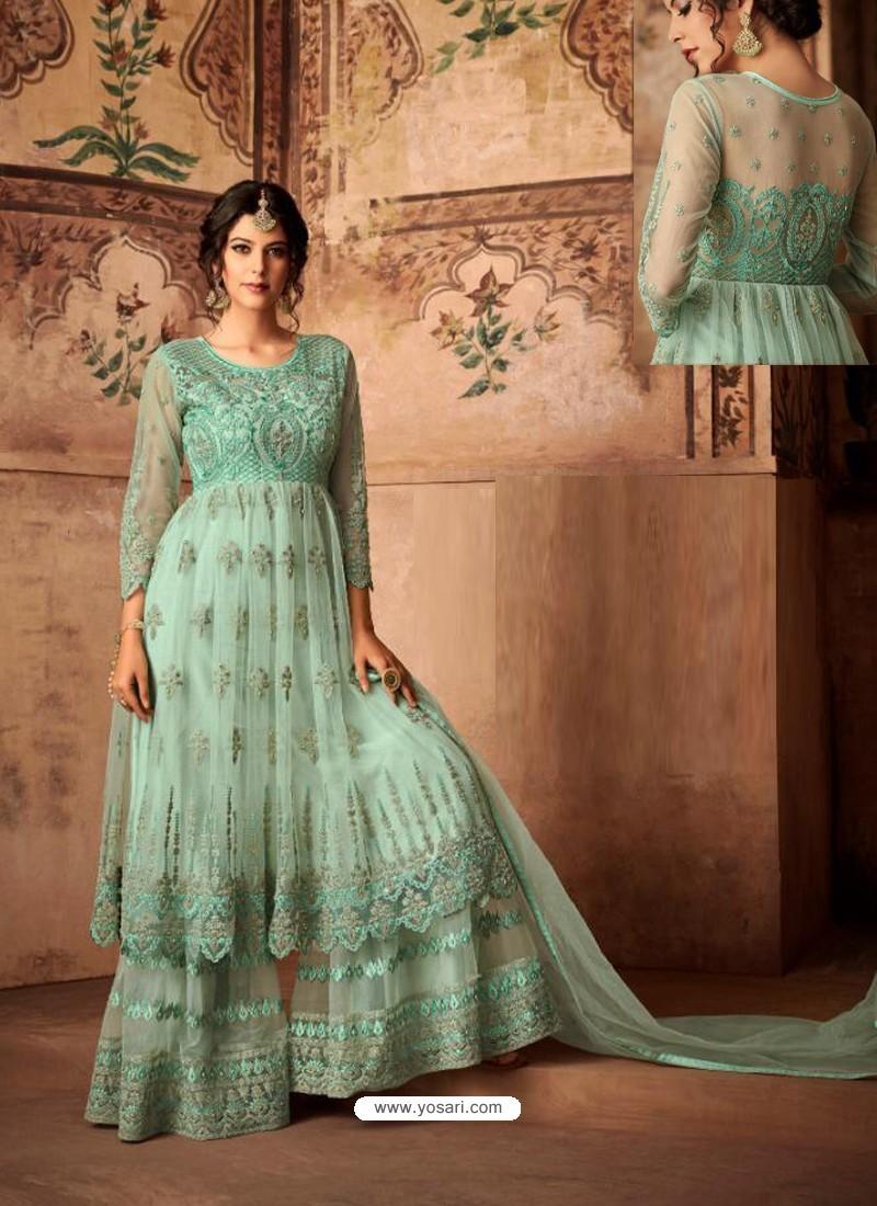 d93a94a8d1 Buy Sea Green Net Embroidered Designer Sharara Suit | Palazzo Salwar ...