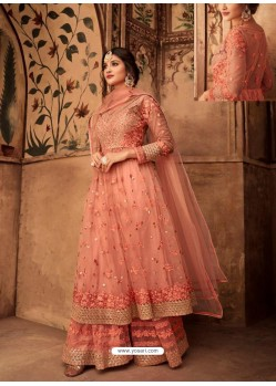 Peach Net Embroidered Designer Sharara Suit