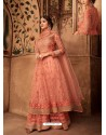 Peach Net Embroidered Designer Sharara Suit