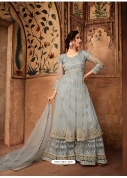 Light Grey Net Embroidered Designer Sharara Suit