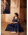 Navy Blue Net Embroidered Designer Sharara Suit