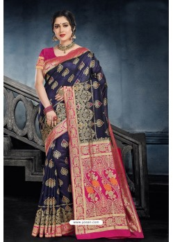 Classy Navy Blue Silk Wedding Party Wear Saree