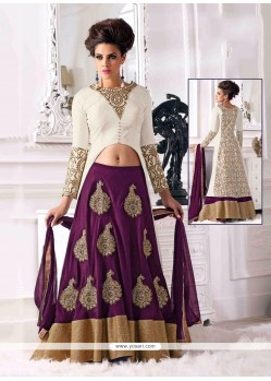 Purple And White Velevet Lehenga Choli
