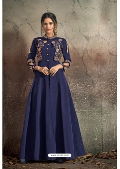 Fabulous Navy Blue Party Wear Gown for Girls