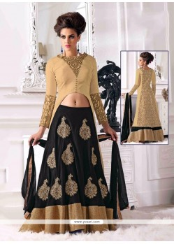 Cream And Black Velvet Lehenga Choli