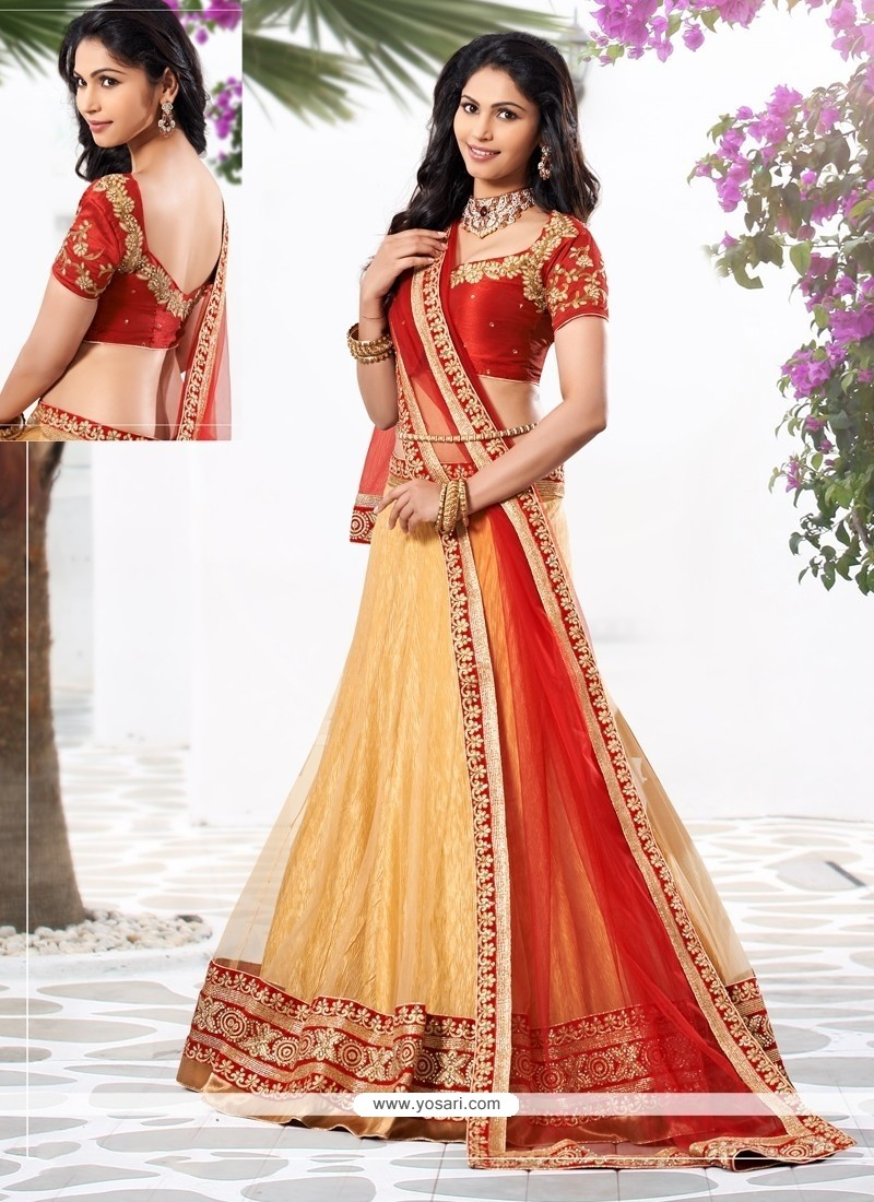 Ombre Cream Embroidery Net Lehenga Choli