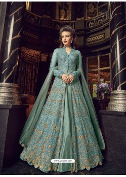 Trendy Sky Blue Embroidered Designer Salwar Suit