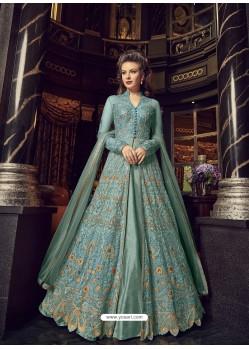 Trendy Sky Blue Embroidered Designer Salwar Suit