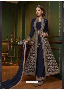 Trendy Navy Blue Embroidered Designer Salwar Suit