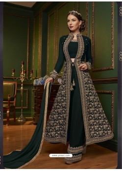 Trendy Dark Green Embroidered Designer Salwar Suit