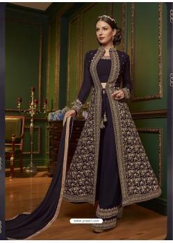 Fabulous Violet Embroidered Designer Salwar Suit