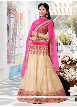Pleasing Cream Chiffon And Net Lehenga Choli