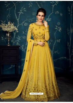 Scintillating Yellow Embroidered Designer Anarkali Suit