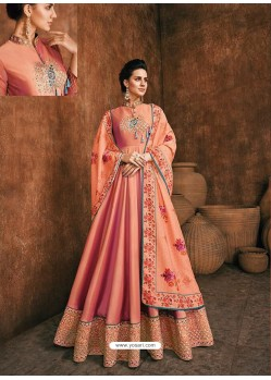 Light Orange Heavy Rayon Gold Fancy Embroidered Anarkali Suit