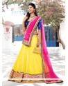 Elegant Yellow Chiffon And Net Lehenga Choli