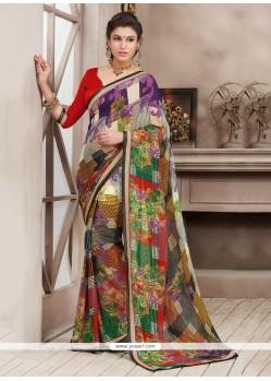Multicolor Bamber Georgette Printed Saree