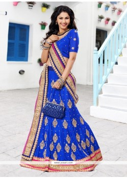 Pleasant Blue Zari Work Chiffon Lehenga Choli