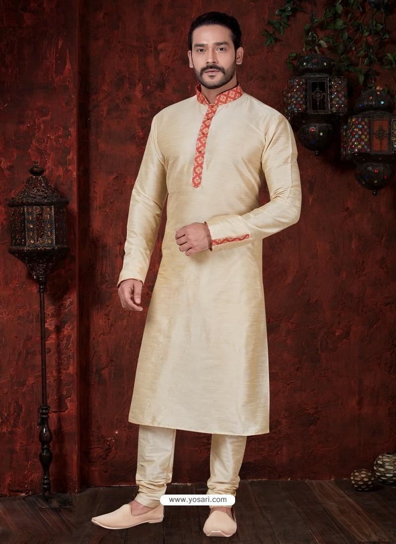 Fabulous Gold Kurta Pajama For Men