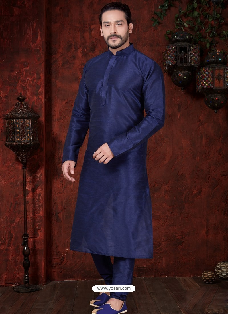Glossy Navy Blue Kurta Pajama For Men