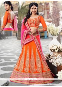 Modish Orange Chiffon And Net Lehenga Choli