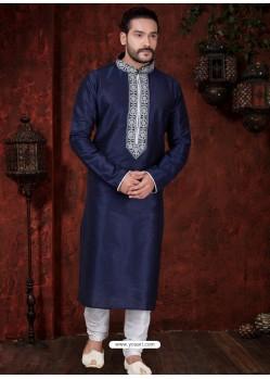 Classy Navy Blue Kurta Pajama For Men