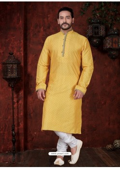 Glossy Yellow Kurta Pajama For Men