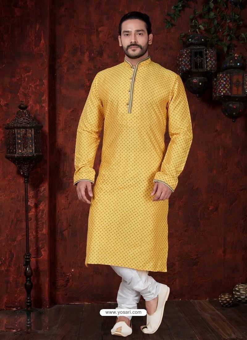 Glossy Yellow Kurta Pajama For Men